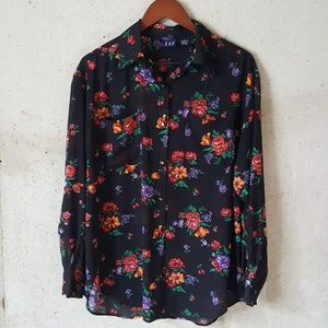 GAP vintage black floral sheer button down top M